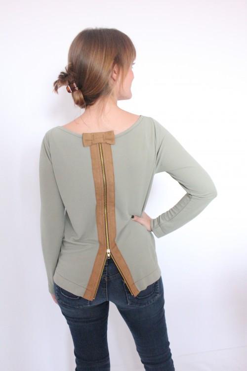 guillermina-ferrer-blog- colección 3- camiseta-verde-cremallera-espalda-cuero-marron-1